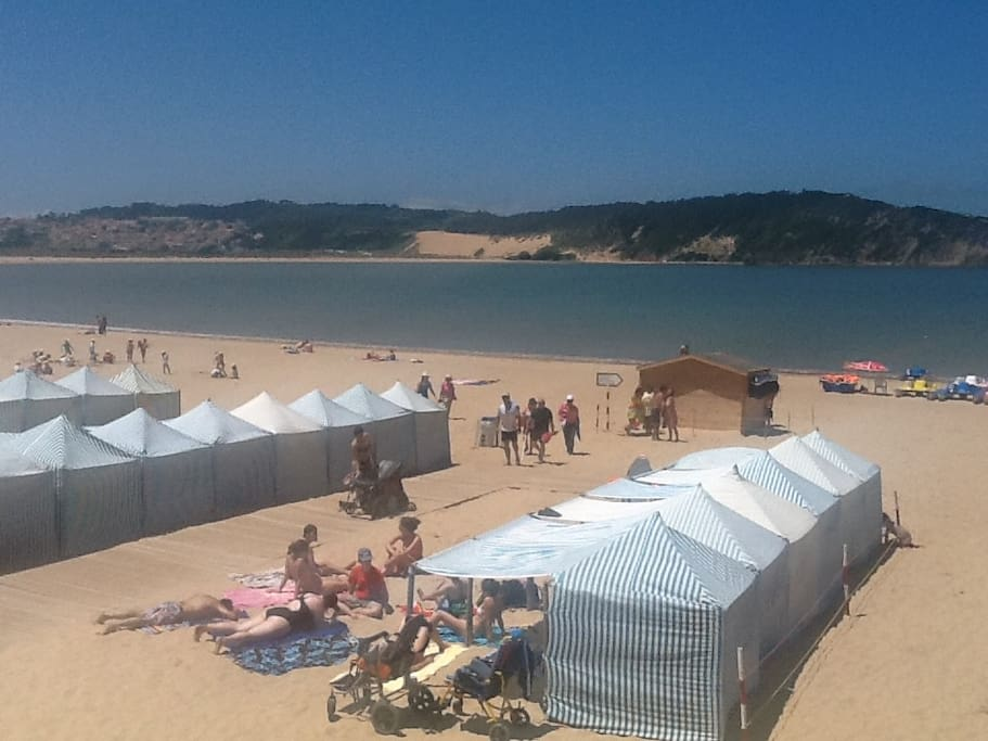 The beach with tents available for rent