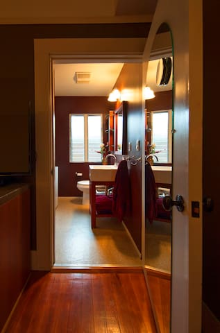 Bathroom small but includes washer dryer.