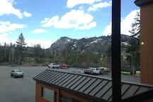 View of mountain tops from suite window