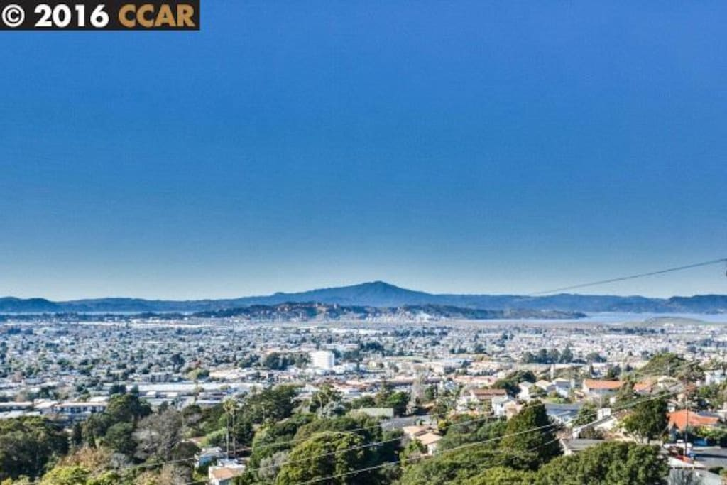 Daytime view of Mt. Tam. View extends from Oakland, to San Francisco, Mt. Tam into North Bay
