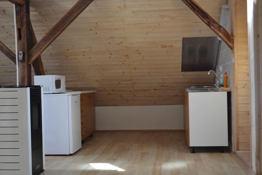 Coin cuisine: évier, table de cuisson (2 plaques électriques), réfrigérateur, micro-onde.