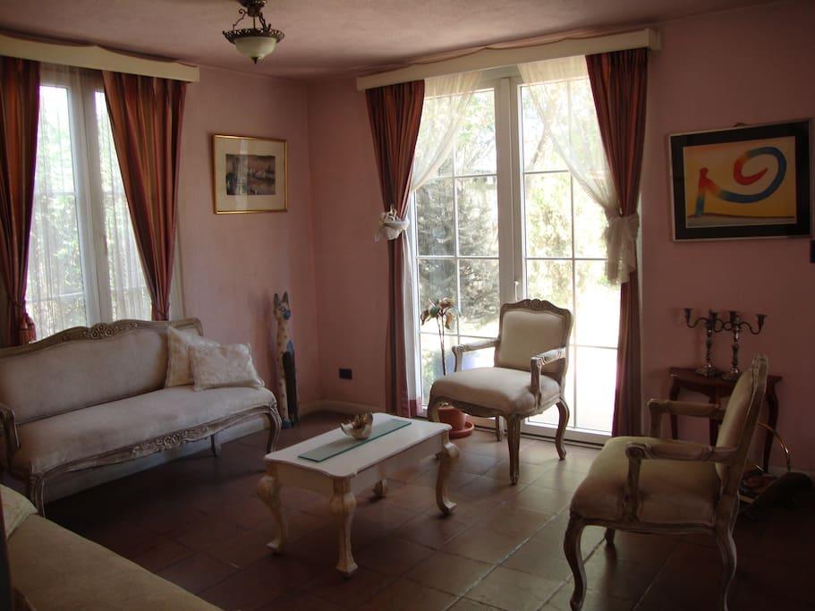 Sala de estar con vista al jardín y chimenea