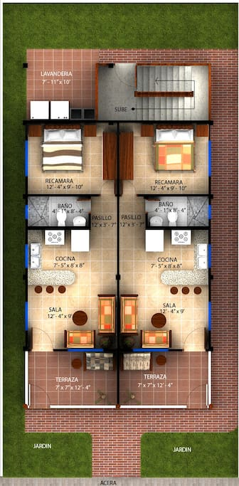 """Floor Plan for """"Bright  and Breezy"""" is on the right. (Numero Uno is on the left)"""