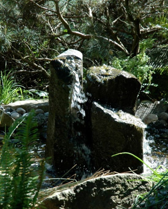 This fountain sits outside the apartment door. It attracts birds, small animals, bees... and sounds wonderful!