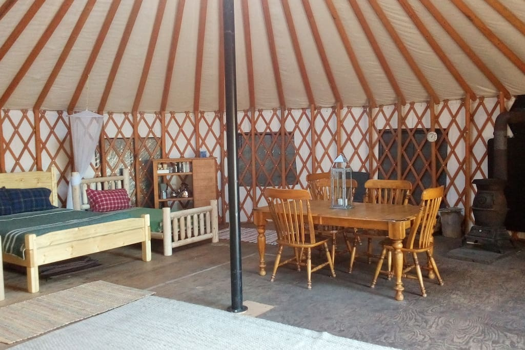 Inside the large, 30-ft yurt.