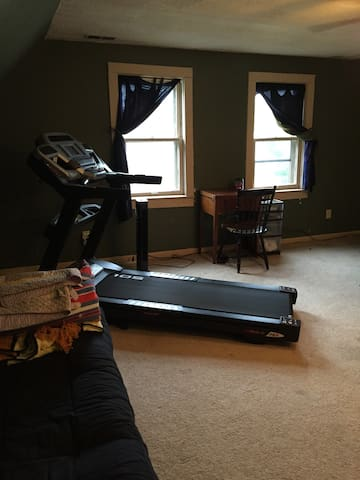 Treadmill folds up for more floor space