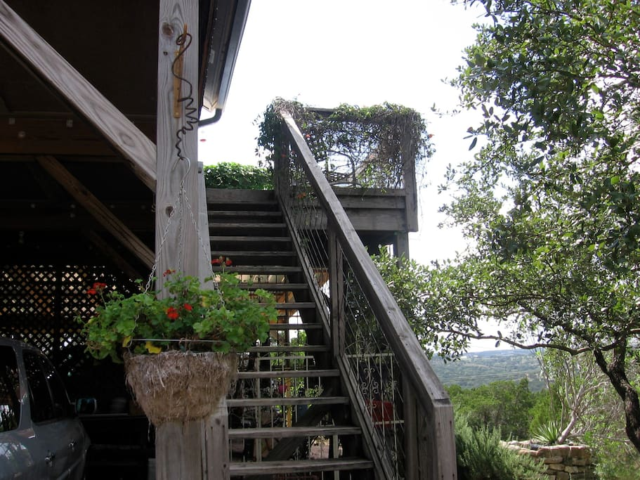 Entry to Studio with Studio Deck overlooking views of the Texas Hill Country. We're one of the highest points in the county.