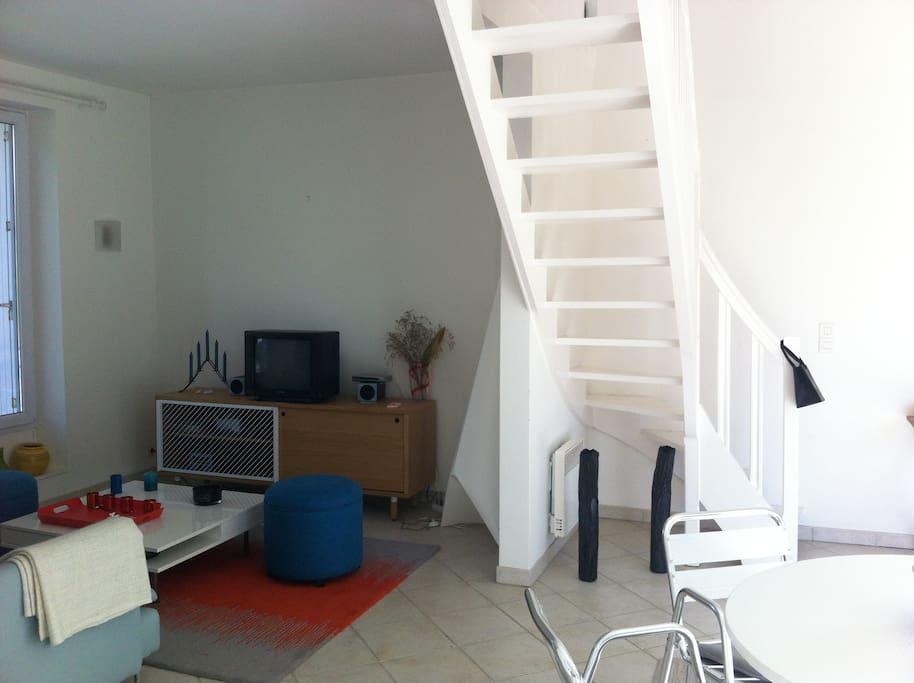 Joli duplex ensoleill 4 minutes de la plage appartements louer pornichet pays de la La cloison magnifique le coin salon