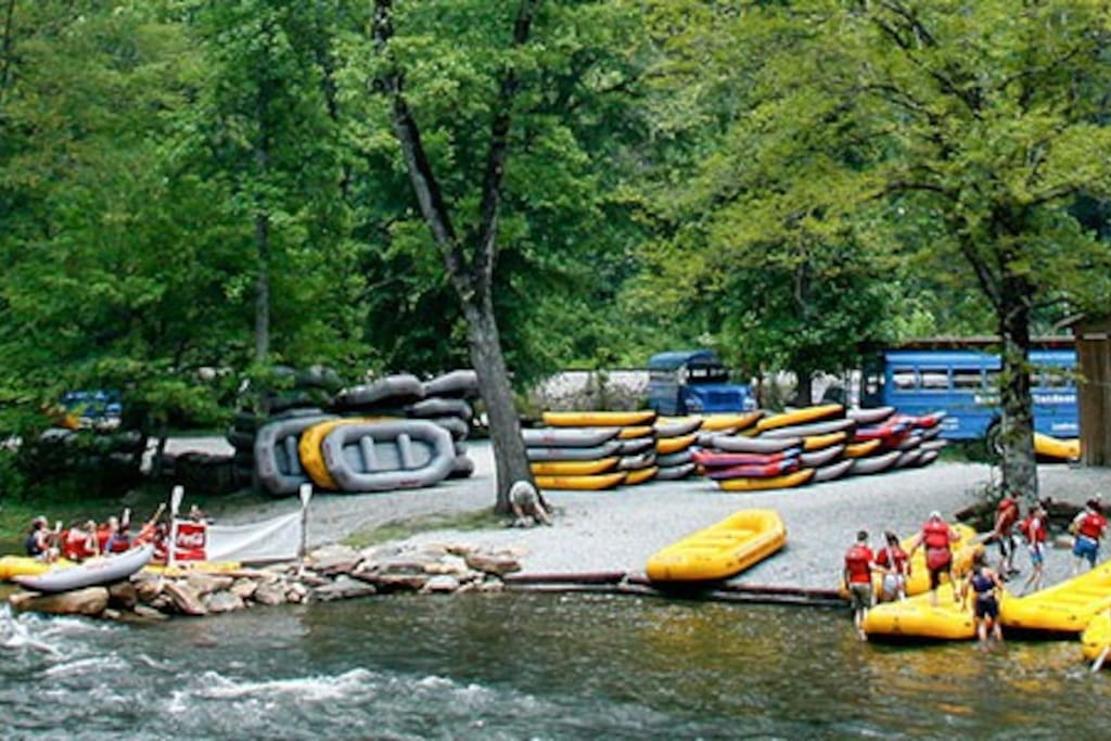 Nantahala River ~ The Nantahala River is located at the end of the Nantahala National Forest. U.S. Route 19 runs alongside the river's course. People use the river for many outdoor activities, including whitewater rafting, kayaking, and fishing