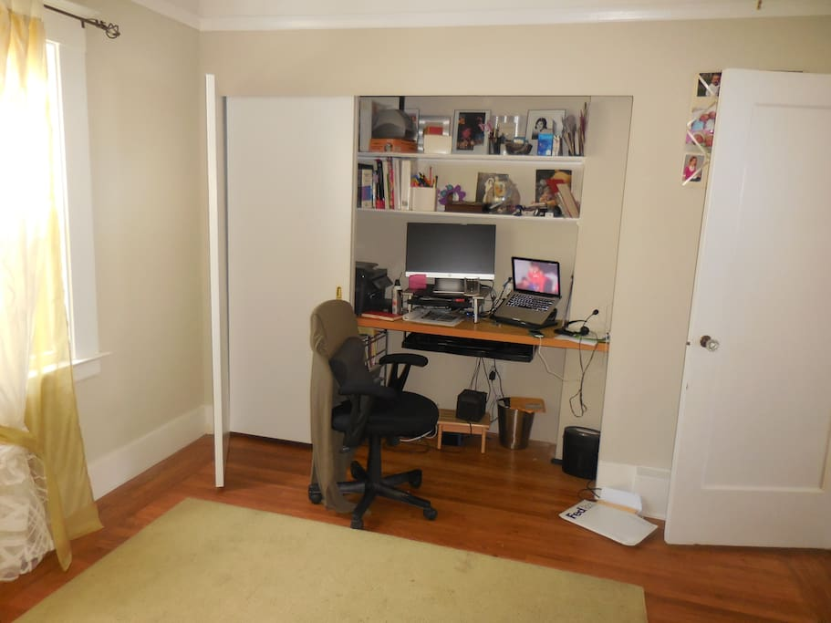 Private upstairs office upstairs with printer, separate monitor, keyboard  tray etc.