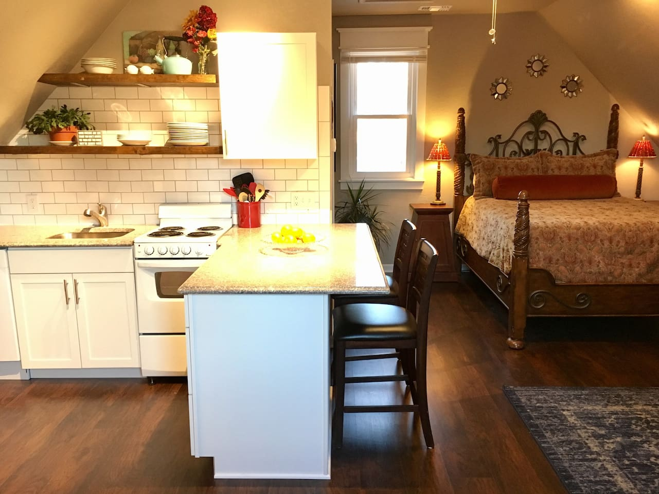 Everything  newly refinished, fresh, clean and cozy!