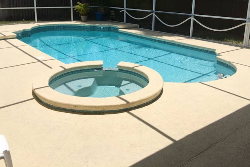 Pool & Spa with Shaded Lanai Furniture, Ceiling Fan & Tiki Bar.  Shaded Lanai Furniture & Ceiling Fan provides great outdoor work area w/ electrical outlets keeping your laptop or phone fully charged.