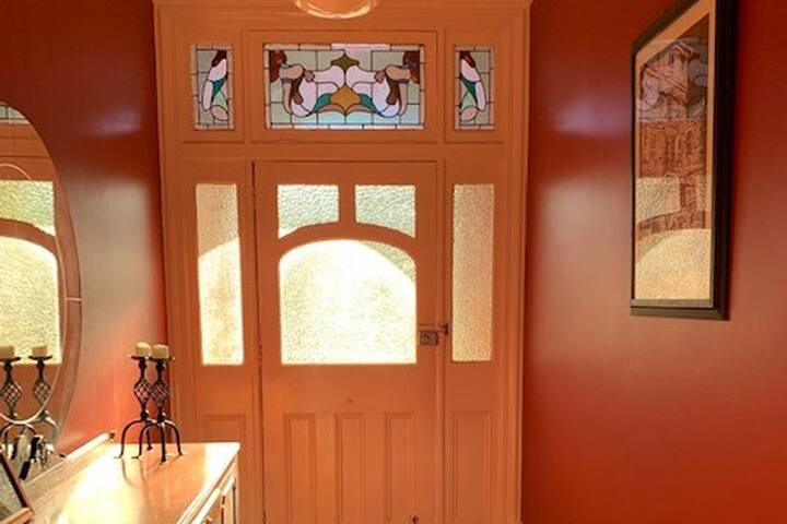 beautiful stained glass entry way