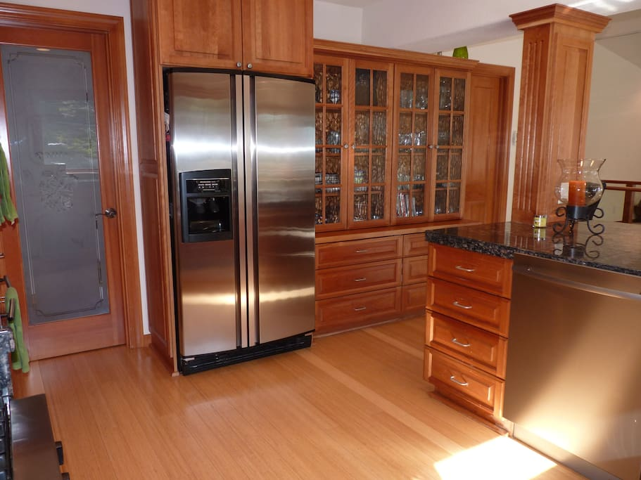 Walk-in pantry and side-by-side fridge/freezer