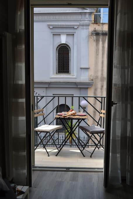 Inside view of little balcony