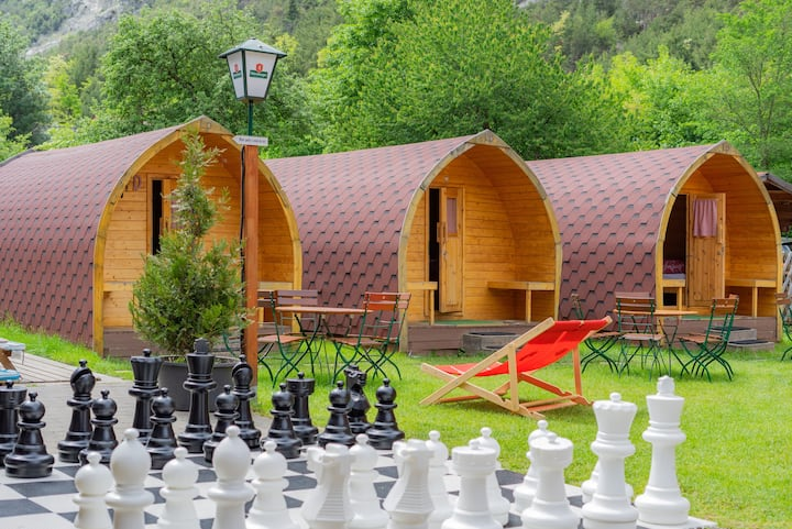 Cosy Camping Pod at Riverside Location