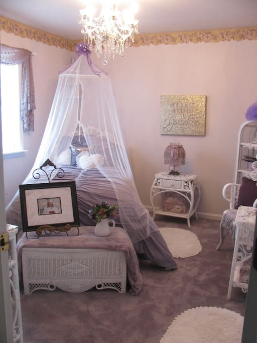 Additional Listing - Room fit for a princess.  Twin wicker bed with attached jack and jill bathroom.