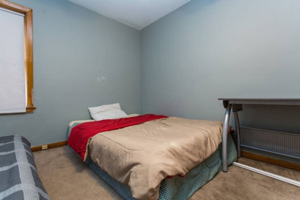 The bed booked through this listing.  The twin bed is a separate listing.  Please inquire.