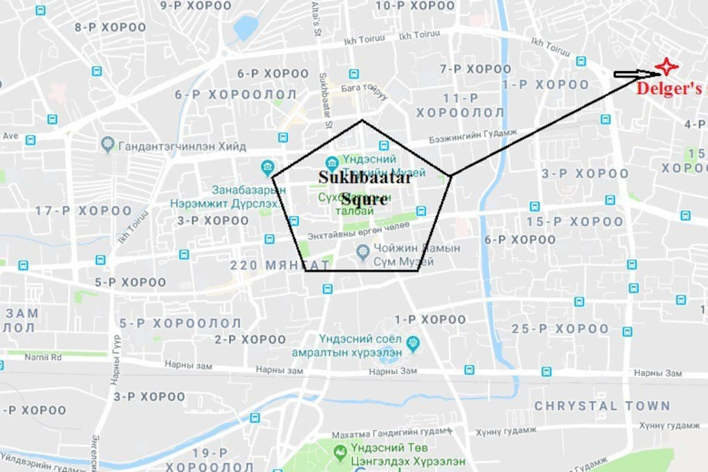 Location of the property in relation to Downtown UB-Sukhbaatar Square (point zero)