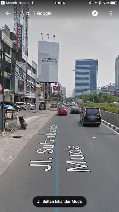 At The Site Of Main Road Sultan Iskandar Muda ( Opposite with Gandaria City Mall / Gandaria 8 Office Tower ) 1 min walk.