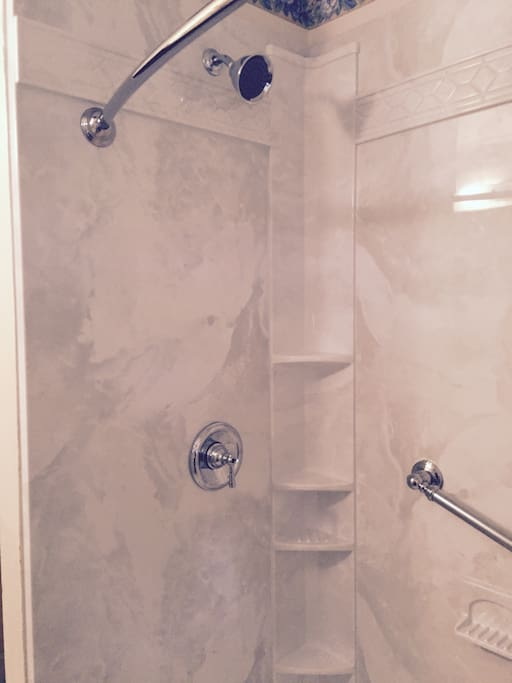 New shower in bathroom.
