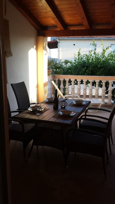 Table on terrace