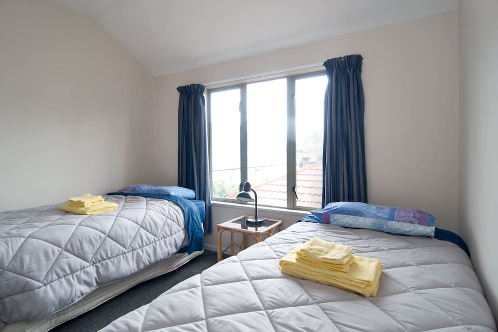 Twin room (2 single beds).  Size: 3m x 3m. Bedding and towels provided.