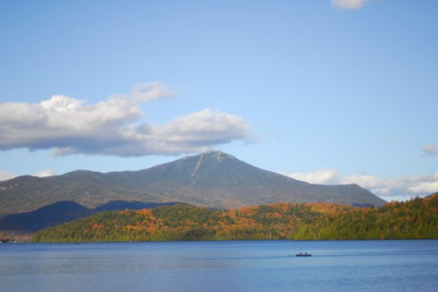 The view of Whiteface Mountain from the Moose Lodge Boathouse