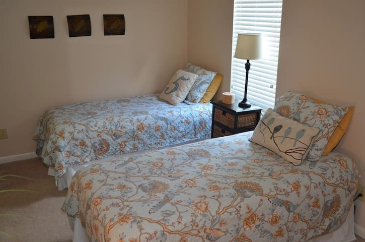 Comfortable twin beds with 100% cotton sheets.