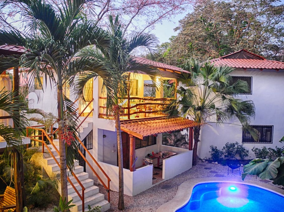 Upstairs in Villa Selva you have a birds eye view of the jungle across the pool.