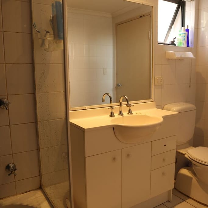 Toilet, shower and bath area