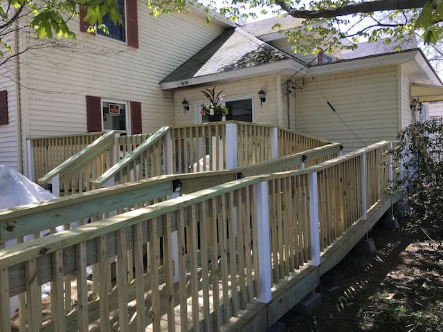 Ramp leading to front deck