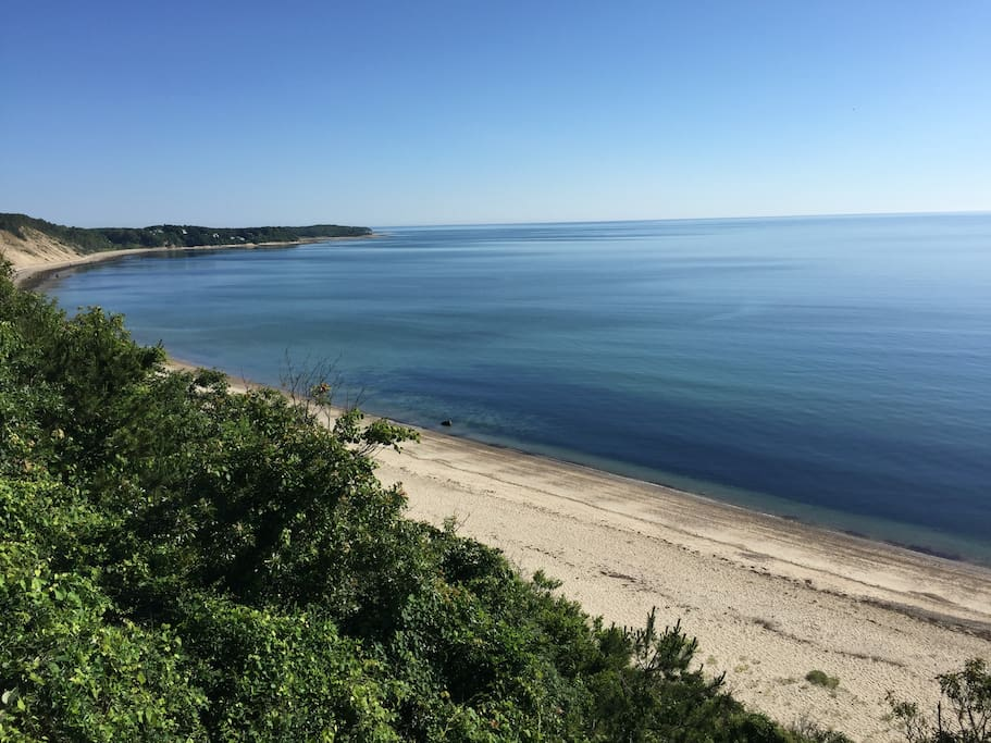 View of the private beach and Cape Cod Bay from the top of Plymouth's Cliffs