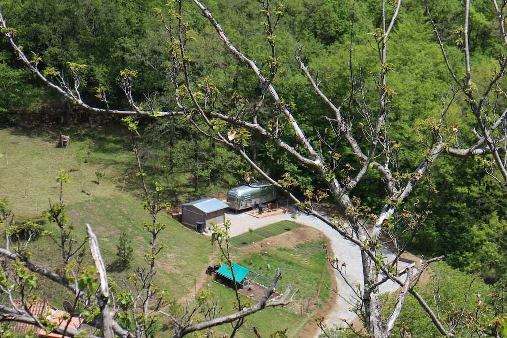 Ariel view of the Trailer and Chalet showing their shady and private setting.