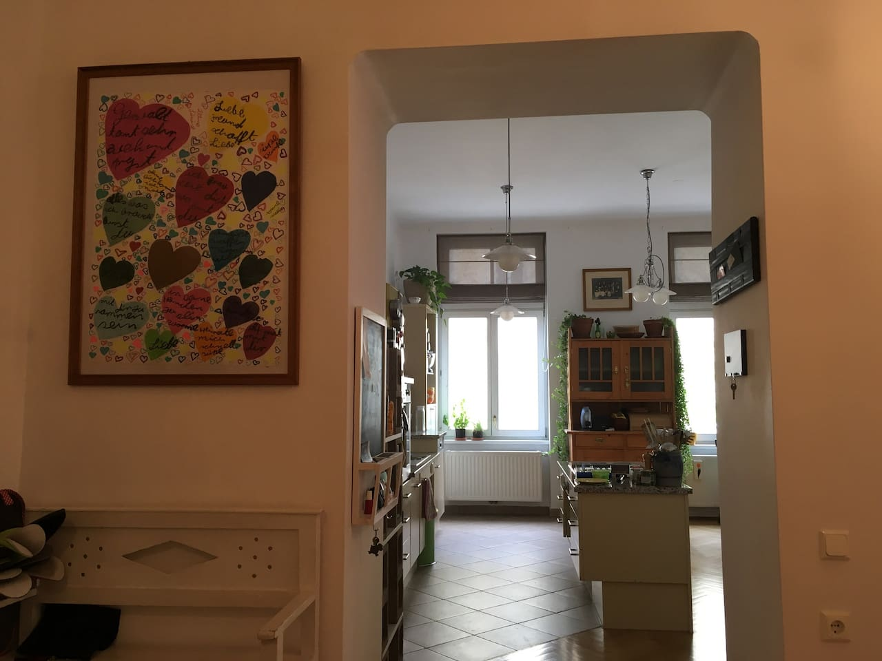 when you enter the appartement ~ view from hall into the kitchen