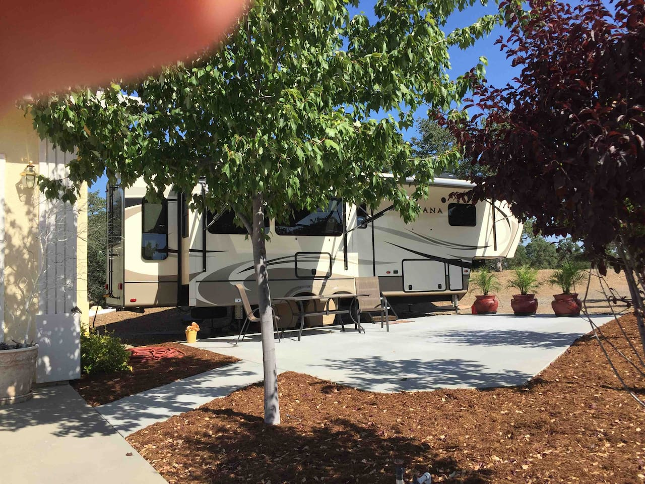 Rv and patio/ sitting area