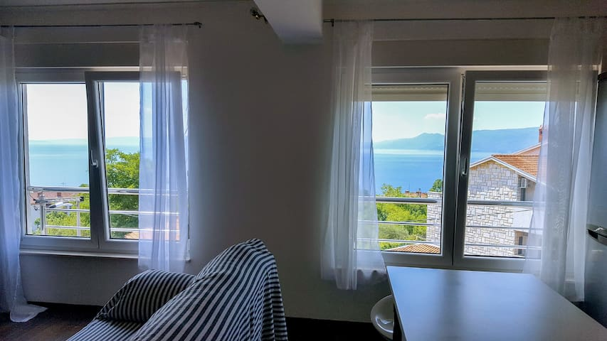 In the whole apartment there are large windows with a view that enchants.