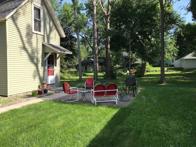 Patio with charcoal grill. Portable gas grill also available.