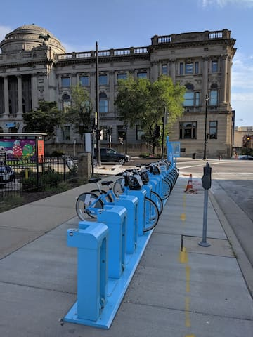 Bublr Bikes is Greater Milwaukee's nonprofit bike share program that delivers an accessible, convenient, integrated and sustainable bike share system for all.  $24 a day and you can explore the city on a bike!  https://bublrbikes.org/how-it-works/