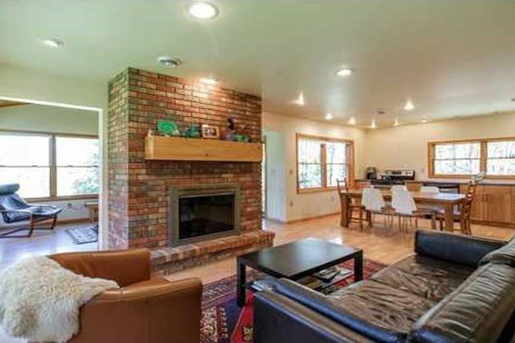 Living room, kitchen, sunroom