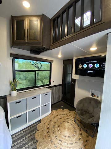 Back bedroom with Loft bed upon above TV