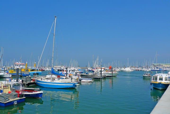 Le port d'Arcachon et les beaux bateaux de plaisance et les prestataires pour le jet-ski.