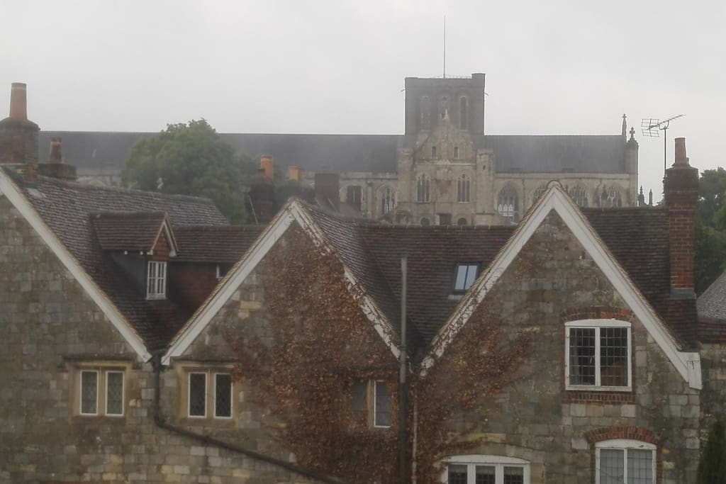 Looking over 18th century gables, the medieval Cathedral is close by