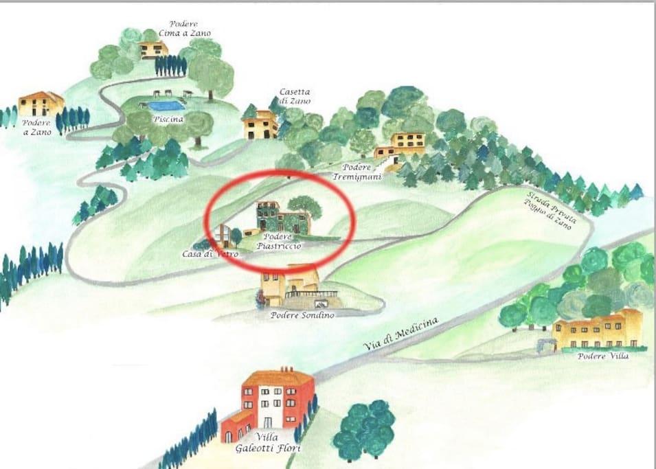 Cartina della tenuta con i poderi