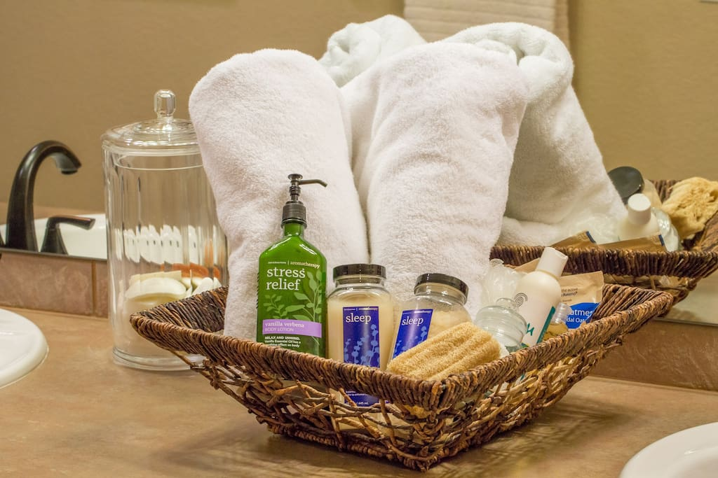 Big fluffy towels with yummy bath products give you a spa-like sanctuary in your private bath.