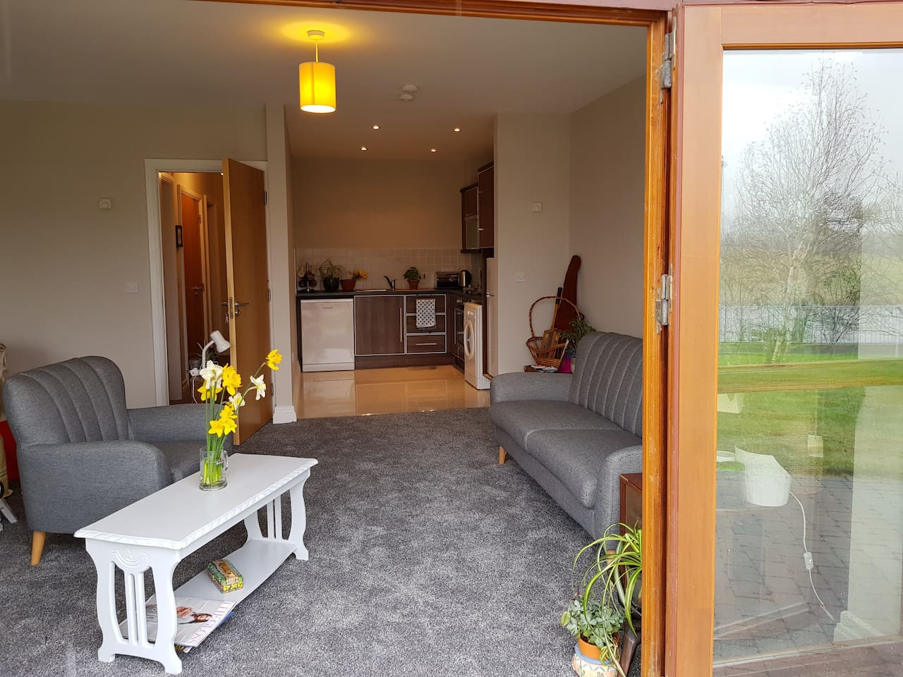 Main living area,  with carpet and underfloor heating