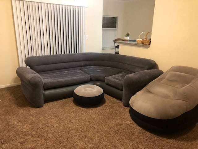 Air mattress in shared apartment.