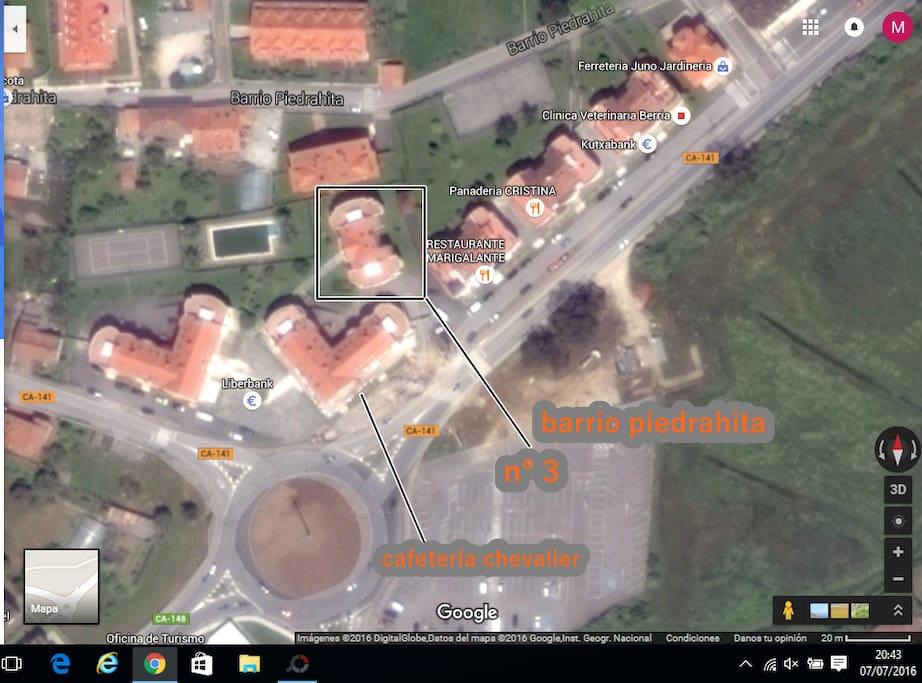 Plano.Barrio Piedrahita, Urbanización Los Lirios, bloque 3.Santoña-Argoños.