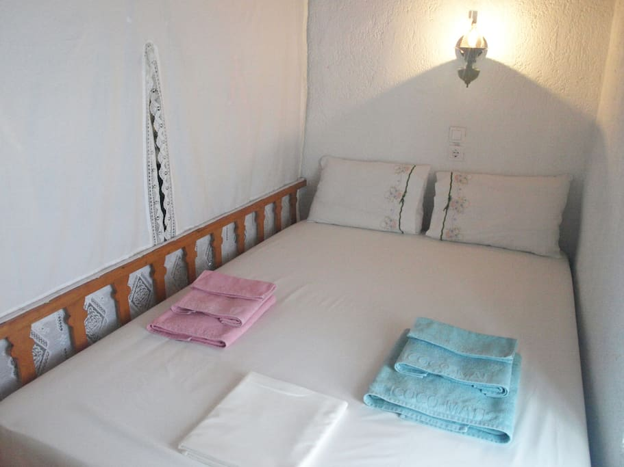 """Traditional house. """"Apokrevatos"""": wooden loft bed. The newlyweds' bedroom."""