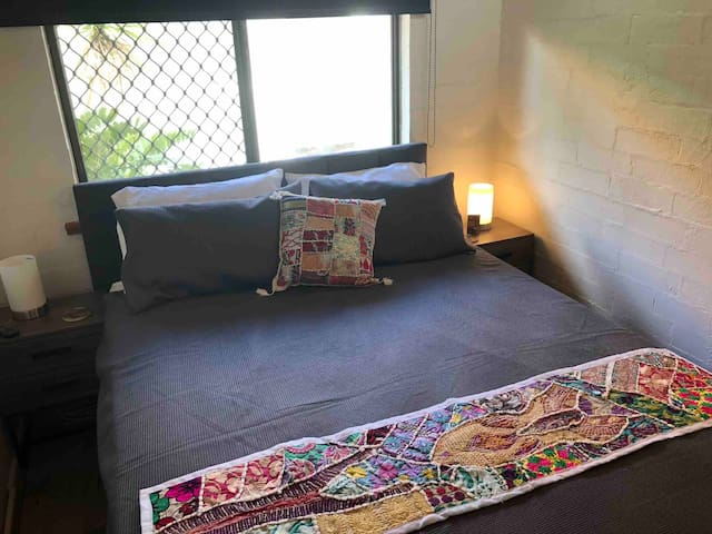 Ground floor queen size bed, brand new bed. Touch lights and remote control fans